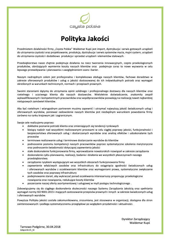 polityka jakości czysta polska
